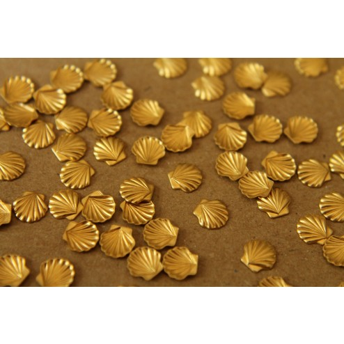 12 pc. Tiny Raw Brass Seashells: 6mm by 6mm - made in USA | RB-023