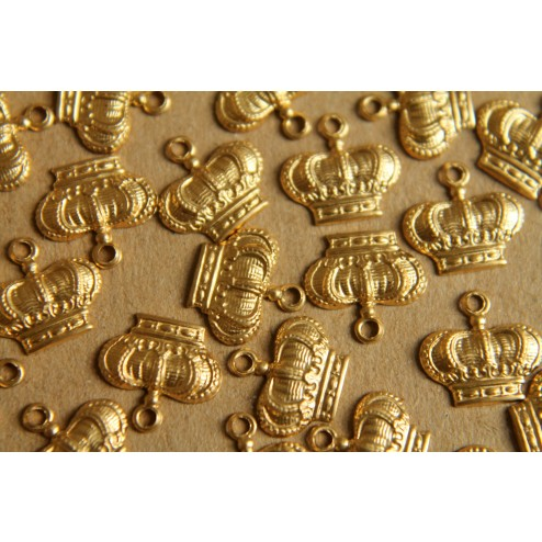 12 pc. Small Raw Brass Detailed Crown Charms: 10mm by 7mm - made in USA | RB-161