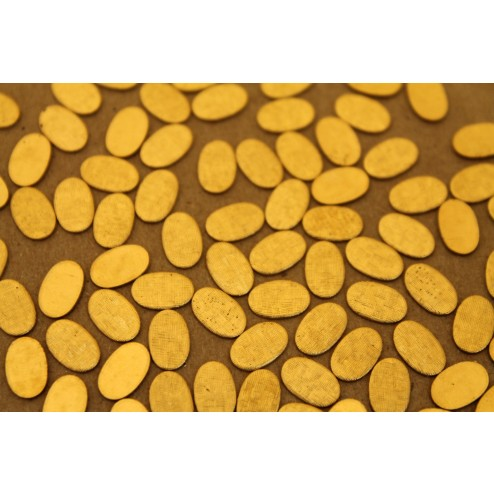 24 pc. Small Raw Brass Crosshatched Ovals: 9mm by 5.5mm - made in USA | RB-229