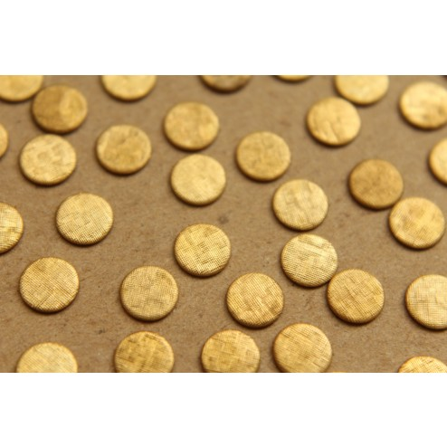 30 pc. Small Raw Brass Crosshatched Circles: 6.5mm diameter - made in USA | RB-620