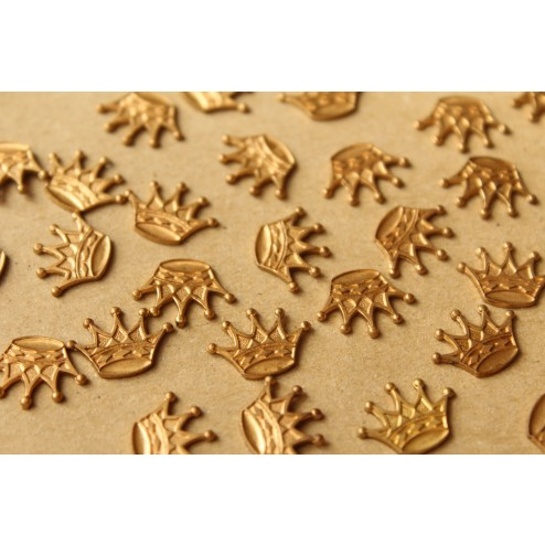 3 pc. Raw Brass Five Point Crowns: 15mm by 11mm - made in USA - RB-703