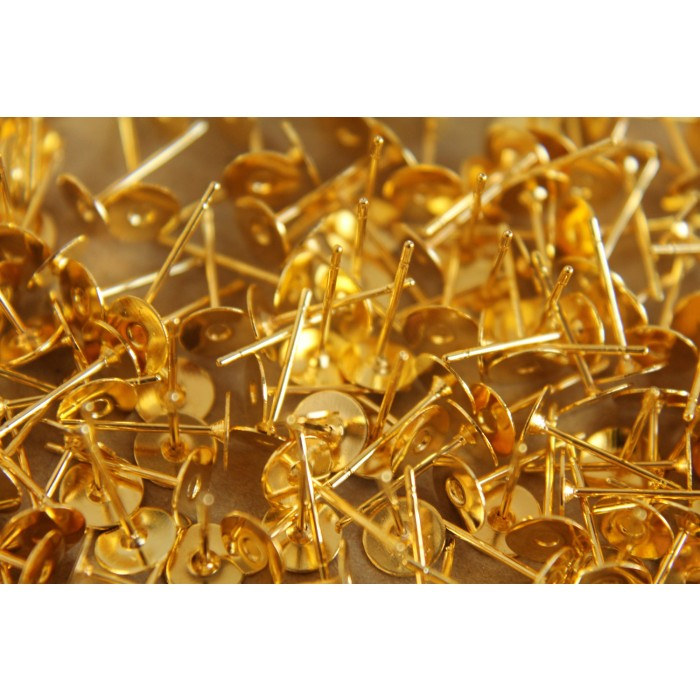 Gold Plated Earring Posts 6mm Pad Nickel Free Fi 010