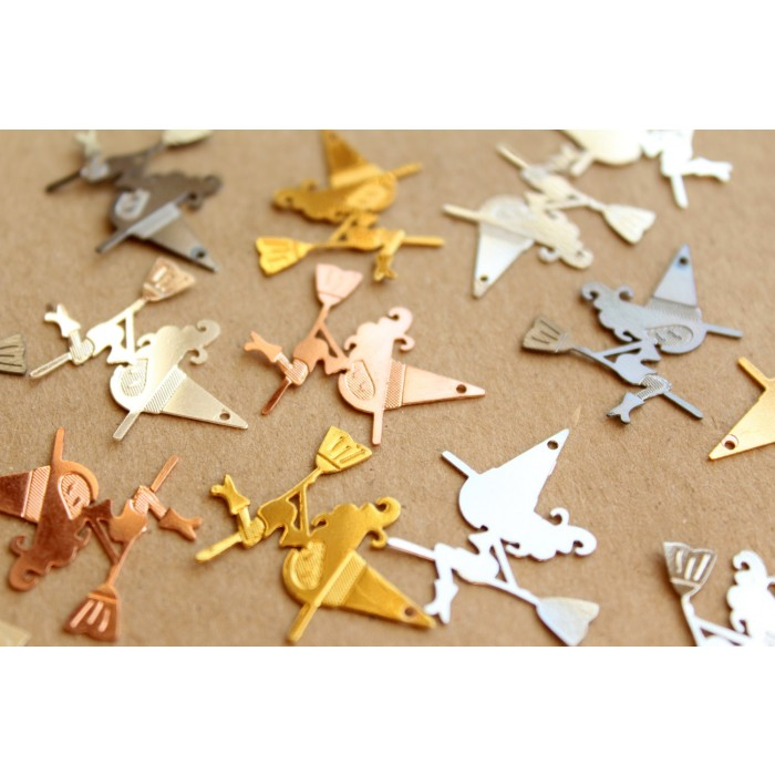 Silver Yellow Plated Airplane Charm 26mm
