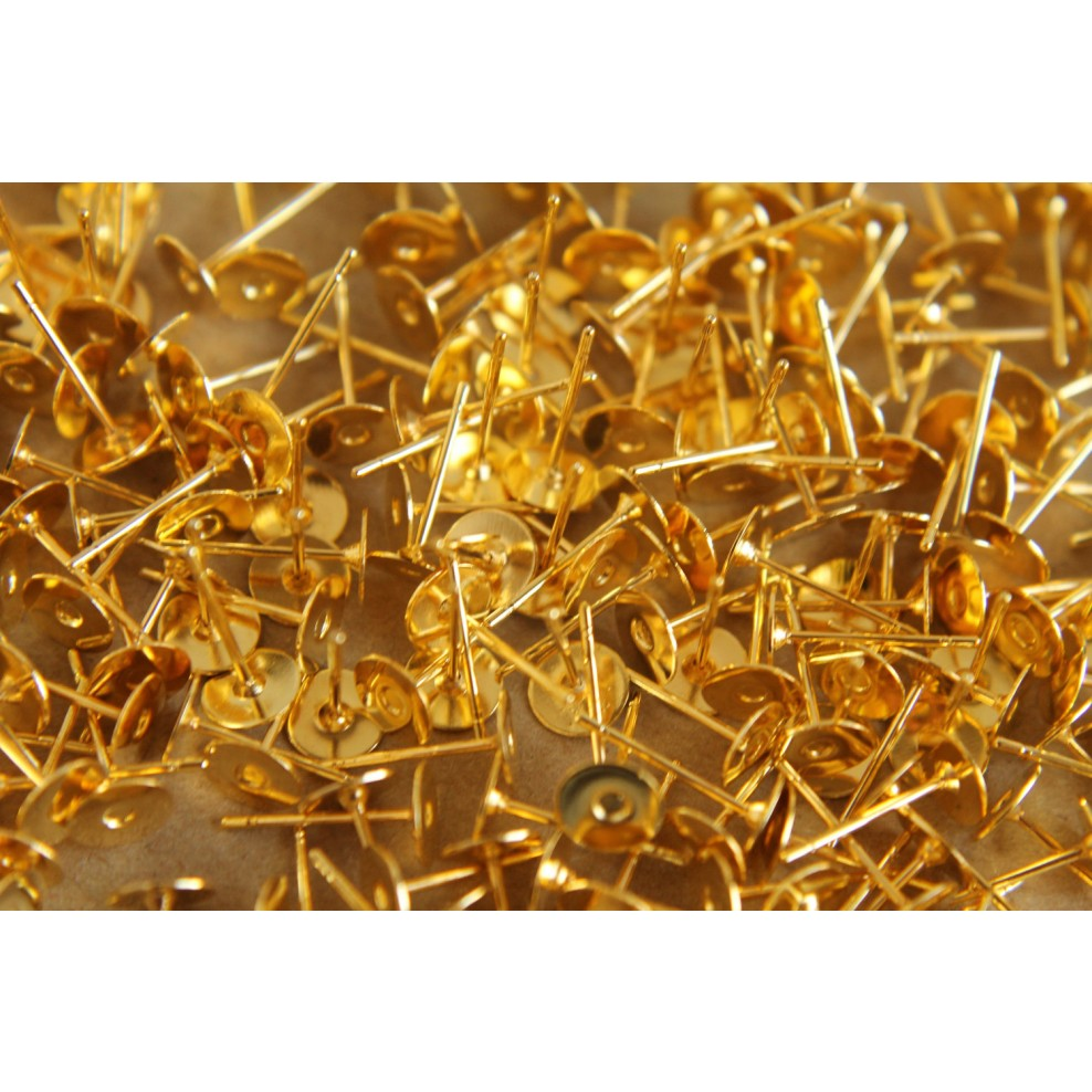 Gold Plated Earring Posts 6mm Pad Nickel Free Fi