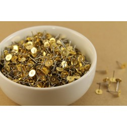 100 pc. Stainless steel earring posts with raw brass pads, 6mm pad | FI-001