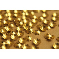 100 pc. Raw Brass Scalloped Bead Caps, 6mm  | FI-073