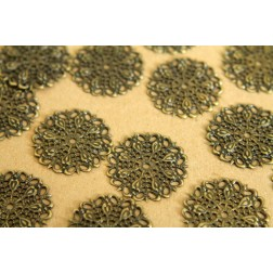 10 pc. Antique Bronze Filigree Finding, 25mm diameter | FI-090