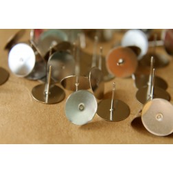 100 pc. Stainless Steel Earring Posts, 10mm pad | FI-140