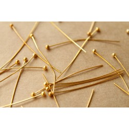 100 pc. Gold Plated Ball End Headpins, 24 gauge | FI-142