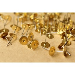 100 pc. Stainless steel earring posts with raw brass pads, 8mm pad | FI-163