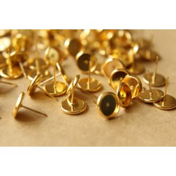 50 pc. 8mm Ear Post Blank Cabochon Setting Gold, Nickel Free - FI-166