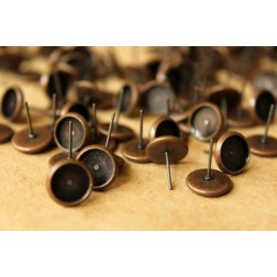 50 pc. 8mm Ear Post Blank Cabochon Setting Antique Copper | FI-168