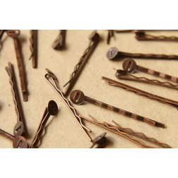 20 pc. Antique Copper Bobby Pins, 8mm pad | FI-172
