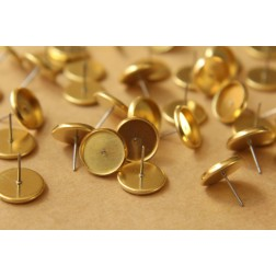 30 pc. 12mm Ear Post Blank Cabochon Setting Raw Brass | FI-176