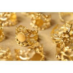 5 pc. Raw Brass Adjustable Filigree Rings, 7.5mm pad | FI-178