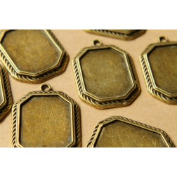 3 pc. Octagon Antique Bronze Pendant Bezel Setting, 56mm x 40mm diameter, 40mm by 30mm tray | FI-180