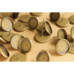 30 pc. 14mm Ear Post Blank Cabochon Setting Antique Bronze | FI-182