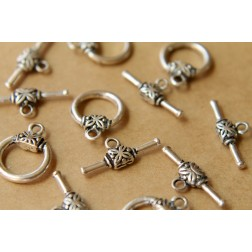 SALE - 10 sets Antiqued Silver Toggle Clasps and Bars | FI-187
