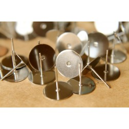 50 pc. Stainless steel earring posts, 12mm pad | FI-188