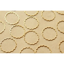 50 pc. Raw Brass Scalloped Circle Links: 25mm diameter | FI-197