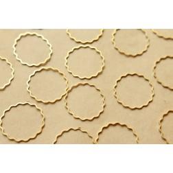 50 pc. Raw Brass Scalloped Circle Links: 25mm diameter | FI-197