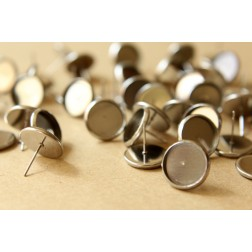 10 pc. Stainless Steel 12mm Ear Post Blank Cabochon Setting | FI-200
