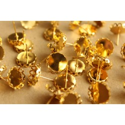 10 pc. Lace Edge Earring Blank Setting Gold, 12mm pad | FI-210