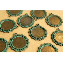 10 pc. Verdigris Antique Bronze Round Floral Cabochon Setting Pendant, 20mm pad | FI-218