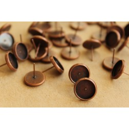 30 pc. 10mm Ear Post Blank Cabochon Setting Antique Copper, Nickel Free | FI-220