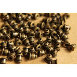 100 pc. Antique Bronze Plated Bullet Earnuts | FI-224