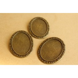 3 pc. Oval Antique Bronze Brooch Bezel Setting, 30mm x 40mm Tray | FI-227