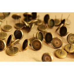 30 pc. 10mm Ear Post Blank Cabochon Setting Antique Bronze, Nickel Free | FI-228