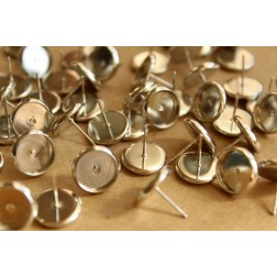 30 pc. 10mm Ear Post Blank Cabochon Setting Silver, Nickel Free | FI-239