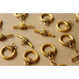 SALE - 10 sets Antiqued Gold Toggle Clasps and Bars | FI-242
