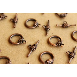 SALE - 10 sets Antiqued Copper Toggle Clasps and Bars | FI-244