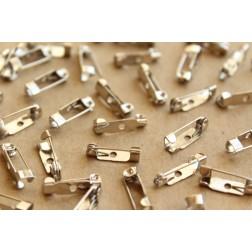 50 pc. Silver Brooch Finding, 15mm long   FI-247