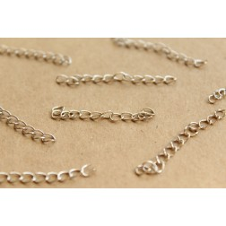 20 pc. Silver Chain Extenders, ~ 45 - 55 mm long | FI-250