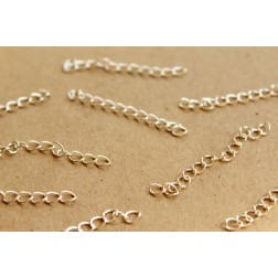 20 pc. Bright Silver Chain Extenders, ~ 45 - 55 mm long | FI-252