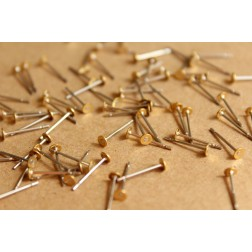 100 pc. Stainless steel earring posts with raw brass pads, 3mm pad | FI-262