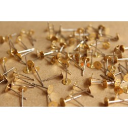 100 pc. Stainless steel earring posts with raw brass pads, 5mm pad | FI-263