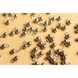 40 pc. Stainless Steel Round Drop End Pieces, 4mm| FI-264