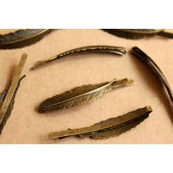3 pc. Antique Bronze Curved Feather Bobby Pins, 65mm by 12mm| FI-268