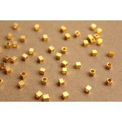 100 pc. Gold Plated Brass Cube Spacer Beads, 3mm by 3mm | FI-277