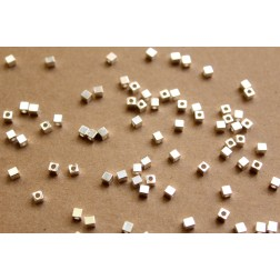 100 pc. Silver Plated Brass Cube Spacer Beads, 3mm by 3mm | FI-279