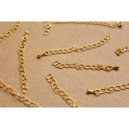 20 pc. Gold Chain Extenders with Drop End Piece, ~ 60 mm long | FI-280