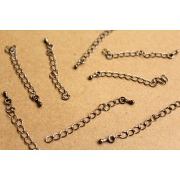 20 pc. Gunmetal Chain Extenders with Drop End Piece, ~ 60 mm long | FI-281