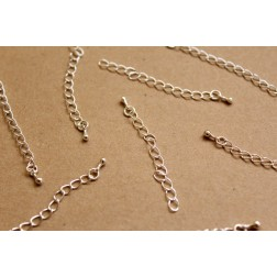 20 pc. Bright Silver Chain Extenders with Drop End Piece, ~ 60 mm long | FI-282