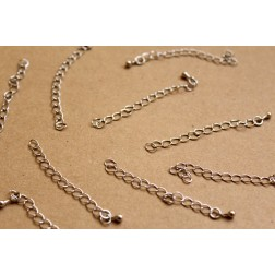 20 pc. Silver Chain Extenders with Drop End Piece, ~ 60 mm long | FI-283