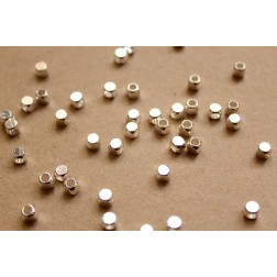 50 pc. Silver Plated Brass Rounded Corner Cube Spacer Beads, 4mm by 4mm | FI-285