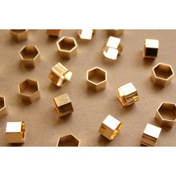10 pc. Gold Plated Brass Hexagon Tube Beads, 12mm by 8mm | FI-287